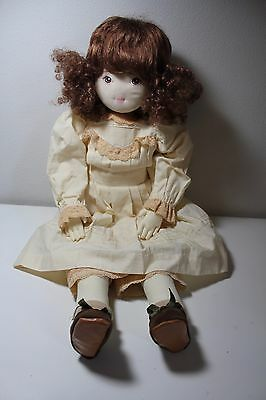 """Dolls By Pauline 26"""" Curly Brown Hair Soft Cloth Doll Hand Painted Face"""