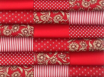 """Fabric patchwork squares 30 x 4"""" 10cm cotton quilting craft red floral 6I"""
