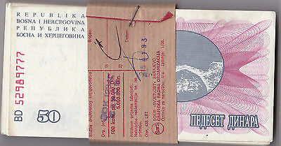 Bosnia-Herzegovina 50 Dinara Banknotes  P12 Lightly Circulated 100 pcs bundle