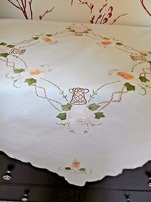 "PRETTY VINTAGE WHITE COTTON with FLORAL EMBROIDERY TABLECLOTH ~32"" Sq"