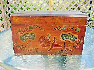 Antique Folk Art Primitive Painted Trunk Sea Creatures Popular Wood