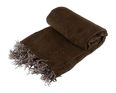 Hand Woven Solid Color Brown Imported Warm Mexican Yoga Blanket Throw Cover