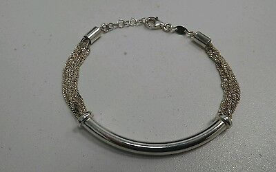 Sterling Silver Dyadema Multi 'Diamond Dust' Chain Bracelet with Engravable Tube
