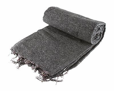 Hand Woven Solid Color Dark Grey Imported Warm Mexican Yoga Blanket Throw Cover