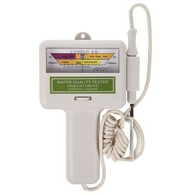 Water Quality PH / CL2 Chlorine Level Meter Tester for Spa Pool White I1G8