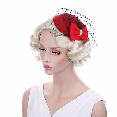 VGLOOK Womens Fascinators Hat Pillbox Hat Cocktail Party Hat with Veil Hair Clip