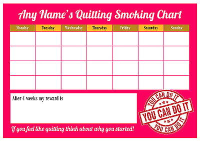 A4 Personalised Quit / Stop Smoking Reward Chart - Laminated with Pen - 4 Weeks