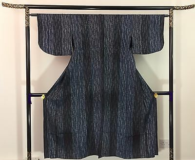 Authentic Japanese blue wool kimono for women, Japan import, M, good c. (F1539)