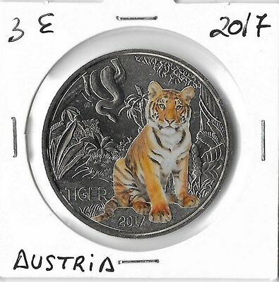 Austria 3 Euros  2017 Tigre ,moneda Coloreada