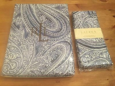 Brand New Ralph Lauren Veranda Paisley Blue Print Tablecloth and Set of 4 Napkin