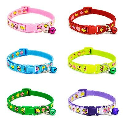6 Pcs Pet Cat Small Dog Kitten Puppy Collar Mushroom Printing Bell Collar Neck