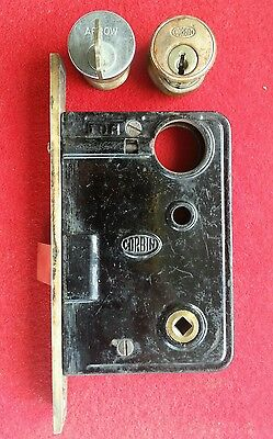 Nice polished Corbin vintage mortise lock with cylinder, ring and key plus spare