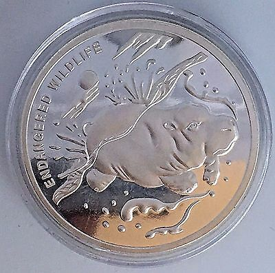 Congo Democratic Republic 10 Francs 2007-Endangered Wildlife- Hippo -40Mm Silver