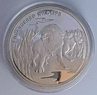Congo Democratic Republic 10 Francs 2007-Endangered Wildlife- Lion -40Mm Silver