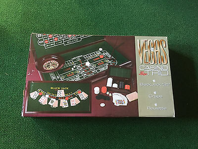 "Vegas Casino Trio Black Jack ""21"" Craps Roulette Game Set"