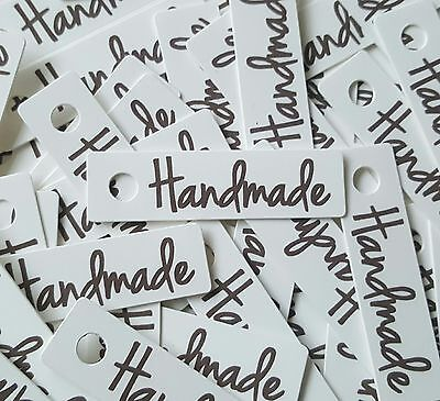 50x WHITE 'Handmade' Tags Labels - Gifts Christmas Crafting Cards Price Tags
