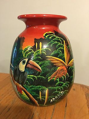 Vtg Hand-Painted Signed Aladin Tropical Vase w/ Toucan Birds