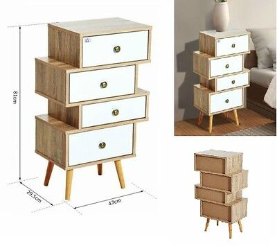 Bedside Table Wooden Chest Of 4 Drawers Bedroom Nightstand Cabinet Storage Unit
