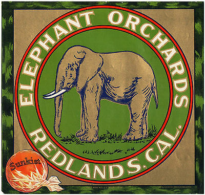 *Original* ELEPHANT ORCHARDS Redlands RARE Orange Crate Label NOT A COPY!
