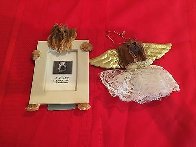 Yorkie Picture frame and angel ornement