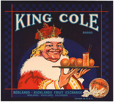 *Original* KING COLE Redlands RARE Orange Crate Label NOT A COPY!