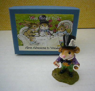 Wee Forest Folk Alice in Wonderland Mice Mouse Figurine MAD HATTER WFF Box