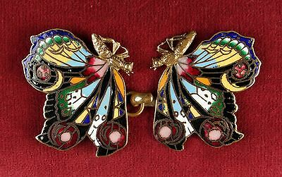 Vintage Champleve Enamel & Brass Double Butterfly Buckle Lovely Colour