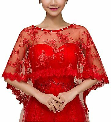 Womens Summer Evening Shawl Wraps Formal Party Wedding Jackets for Bride Red