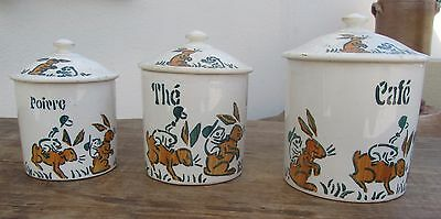 Ancienne Serie 3 Pots A Epices Lapin Grenouille Benjamin Rabier