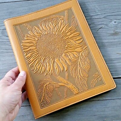 Sunflower Leather Composition Notebook Cover marigold 8.25x10.25 Oberon Design