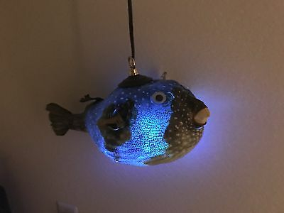 "NEW 14"" Parrot Puffer Fish Lamp w/color changing LED Light bar Smokin Tikis fx"