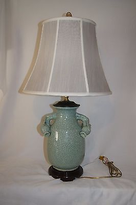 Chinese Celadon Crackle Vase Lamp With Maker Mark & Peach Handles