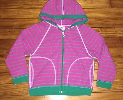 Girls Hanna Andersson Pink Green Striped Hoodie Spring Jacket 110 5-6 EUC