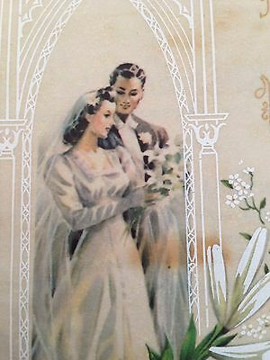 Elegant Bride Groom Church Alter White Lily Flowers Wedding Vtg Card Rust Craft