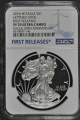 2016 W Proof Silver Eagle First Releases NGC PF 70UC First Releases 30th Anniv.