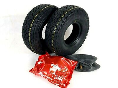 Pair of 330x100 4.00-5 Black Block Tread Mobility Scooter Tyres & Tubes.