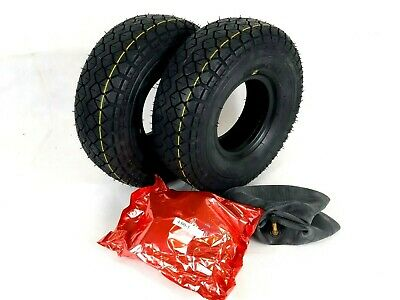 Pair of 4.00-5 (330x100) Black Block Tread Mobility Scooter Tyres & Tubes.