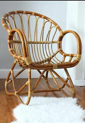 Vintage Albini Style Rattan Bamboo Scoop Arm Chair Wicker Curved