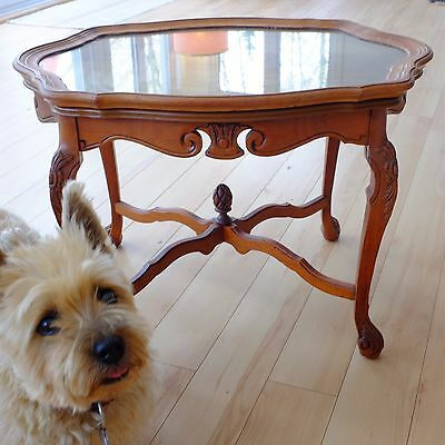 Vintage 1910 Inlaid Mahogony Coffee Table with wood/glass cabaret