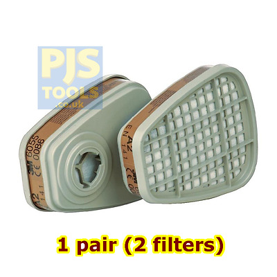 1 pairs - 3M 6055 A2 gas & vapours filter fits 6000 & 7000 series masks