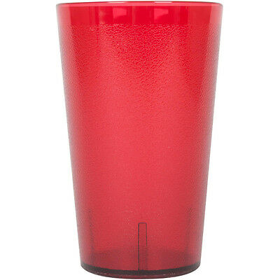 (12-Pack) 32 oz. Red Round Pebbled Restaurant Plastic Drinking Glass Tumblers