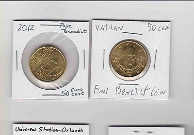 Lot Of 2, 2012 Vatican City 50 Euro cents Pope Benedict.