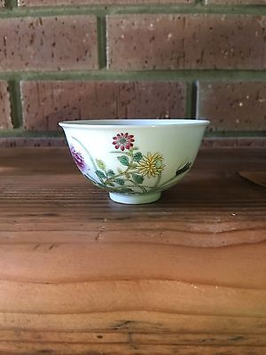 Collectible Chinese Famille Rose Porcelain Cups w Flowers Pattern