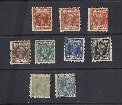 LJL Stamps:  9 Cube old stamps from 1894 & 1898 series, Mint