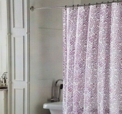 Domain White Purple Fabric Shower Curtain 72