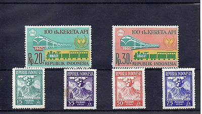 INDONESIA 1954  SG 668 to 671 + 1193 + 1194 m/m