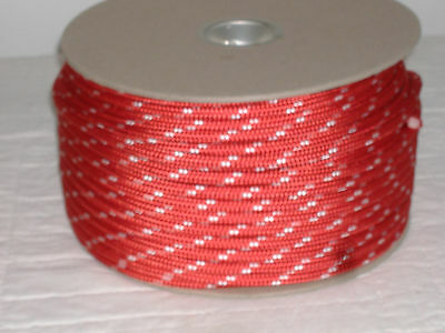 """Double Braid Polyester 3/8""""x 300 feet yacht braid halyard line red white tracers"""