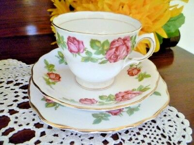 ROYAL VALE Cup, Saucer and plate set DARK PINK ROSES ON WHITE BACKGROUND