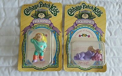 2 New VINTAGE CABBAGE PATCH KIDS DOLL MINI FIGURINE 1984 PVC Cute Baby