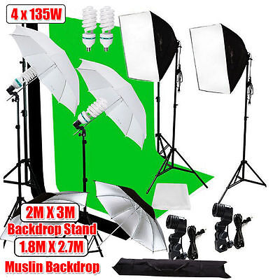 2700W Photography Soft box Umbrella Light Photo Studio Lighting and Backdrop Kit